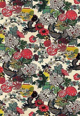 3.5 yds Schumacher Upholstery Fabric 173273 Chiang Mai Dragon Alabaster SQ3
