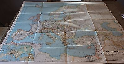 Vintage National Geographic Map Europe and the Mediterranean 1938
