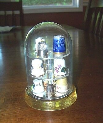 Thimble Glass Dome Display 3 Tier Plastic + 11 Thimbles + 1 Sterling