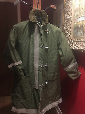 Firefighter Firemans Turnout Bunker Coat Olive Reflective Warm Wool Size 38-42