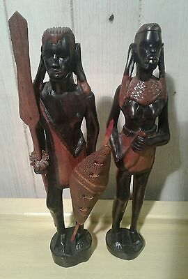 2 vintage hand carved hardwood Maasai male and female carvings
