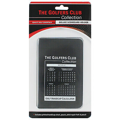 Golfers Club Collection Golf Deluxe Scorecard Holder New Score Counter Leather