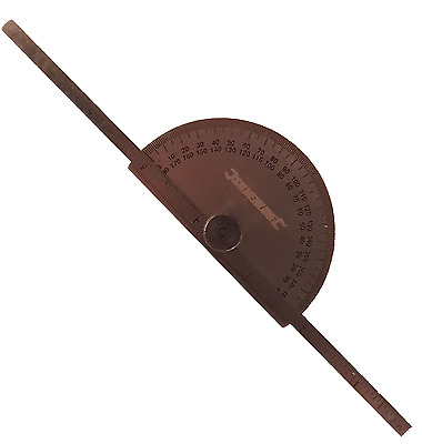Engineers Metal Protractor with Depth Gauge Metric and Imperial Scale 783181