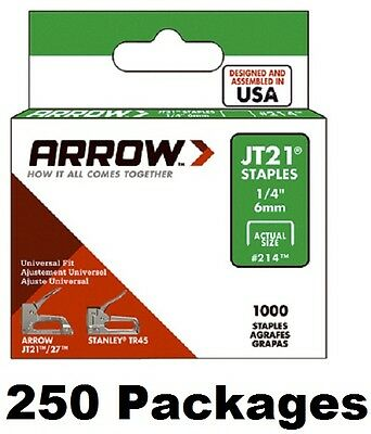 "(250) Arrow Fastener # 214 JT21 TR45 1000 Pack 1/4"" Staples"