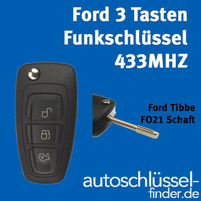Ford 3 Button Flip key 433MHZ Radio key ID60 Transponder Fiesta, S-MAX