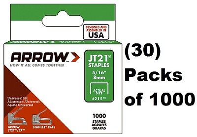 "(30) Arrow Fastener # 215 JT21 TR45 1000 Pack 5/16"" Staples"