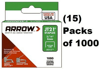 "(15) Arrow Fastener # 215 JT21 TR45 1000 Pack 5/16"" Staples"