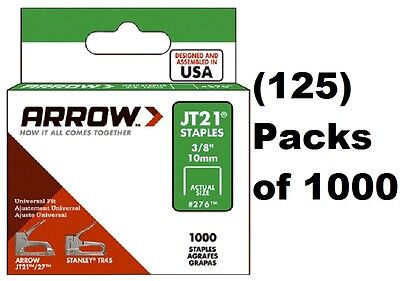 "(125) Arrow Fastener # 276 JT21 JT21CM TR45 1000 Pack 3/8"" Staples"