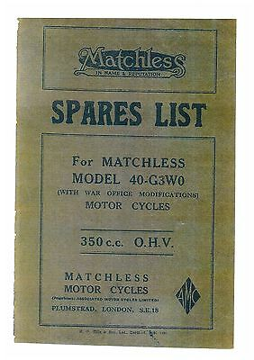 MATCHLESS 40-G3W0 350cc OHV MOTORCYCLE SPARE PARTS MANUAL (294-C-5247-CON-8)