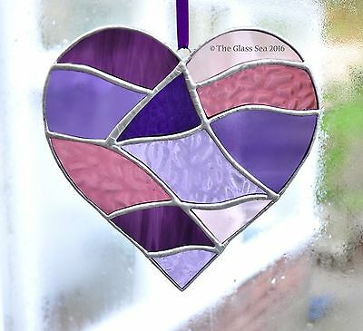 Purples Pinks Lilacs Love Heart Stained Glass Art Suncatcher by The Glass Sea