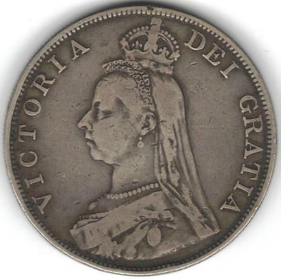 TMM* 1889 Great Britain Uncertified Silver Victoria Double Florin Fine