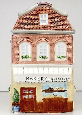 Cookie Jar Kitchen Canister Ceramic House Bakery Building Window Boxes 9 in