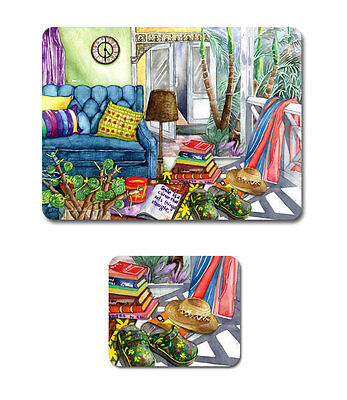 BEACH HOLIDAY Set of 6 Placemats and Coasters Cork Back
