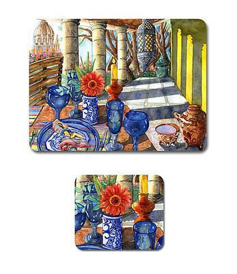 MEXICAN VISTA Set of 6 Placemats and Coasters Cork Back