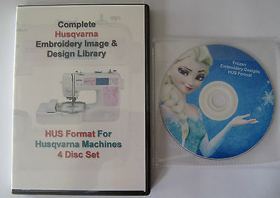 139,877 HUSQVARNA HUS Format EMBROIDERY Designs 4 DISC BOX-SET+ Frozen Design CD