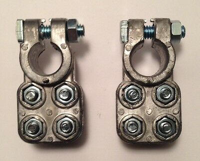 Heavy Duty battery cable ends pair 1 Pos. End & 1 Neg. End. Use On Cale 2 - 4/0