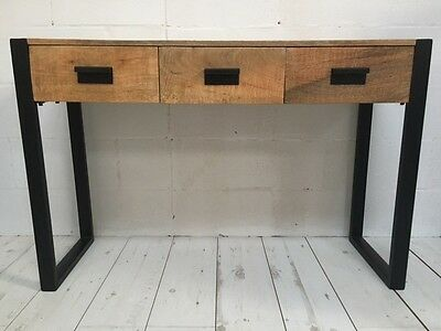 Solid wood Industrial Rustic style Console Table Desk Hallway Bedroom 3 drawers