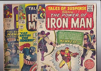 Tales of Suspense #57, 60, 64, 1st, 2nd and 3rd app. Hawkeye low grade complete