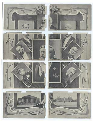 1906 INSTALLMENT SET 8x Postcards - PRESIDENTS of FRANCE - THIERS to FALLIERES