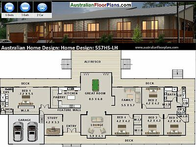 5 Bedroom +  Study  Ranch  | House Plans | Floor plans  | Home Plans  | New Home