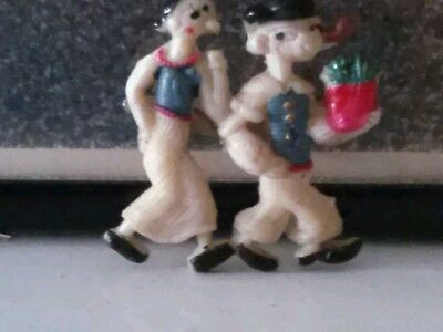 Vintage~Plastic/celluloid Resin~Popeye And Olive Oil Full Figures Pin/brooch