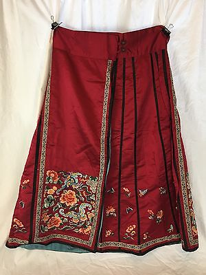 Chinese Embroidered Skirt, Early 20th Century, Red, Bats