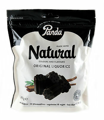 Panda Natural Licorice Cuts in Bag 240g - No Additives & Preservatives, Vegan