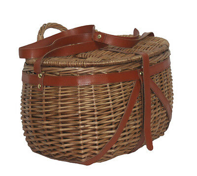 Luxury Willow Delux Fishing Creel with Real Leather Shoulder Straps