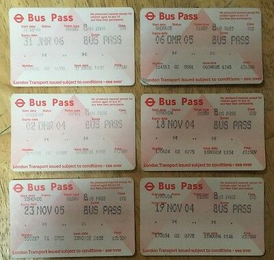 Old Style One Day Bus Passes - Various Years