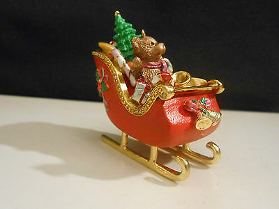 Enamel Painted Sleigh with Bear Christmas Ornament, 2 1/2""