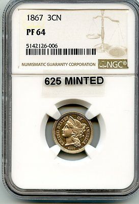 C8343- 1867 Proof Three Cent Nickel Ngc Pf64- 625 Minted