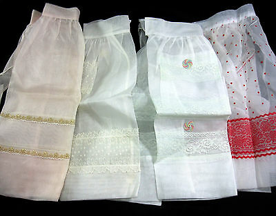 Lot of 4 Organza Aprons Vintage 1960's White Pink Lace Gold Unused Red Flocking