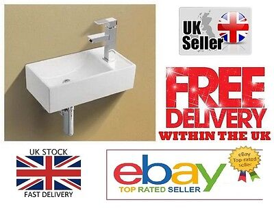Basin Sink Wall Mounted Right Hand Square Small Mini Cloakroom Bathroom 41x21cm