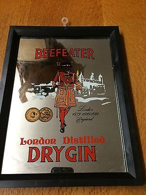 Vintage Collectable Beefeater Gin Advertising Pub Mirror, Bar