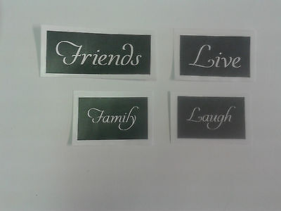 20 x mixed word stencils for etching glass  love  live  friends  family  gift