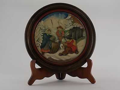 1979 Anri Christmas Plate Wood Carved The Moss Gatherers Of Villnoess Numbered
