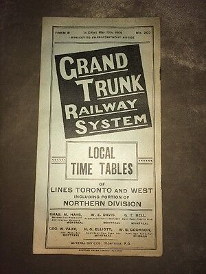 Grand Trunk Railway System Local Time Tables 1909