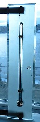 Antique Unusual GLASS ON GLASS acid etch bevel edge frosted glass thermometer