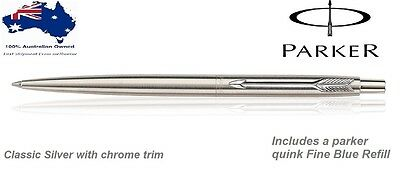 Parker Stainless steel Chrome Trim Ball Pen with Blue Quink Refill Fine Nib NEW