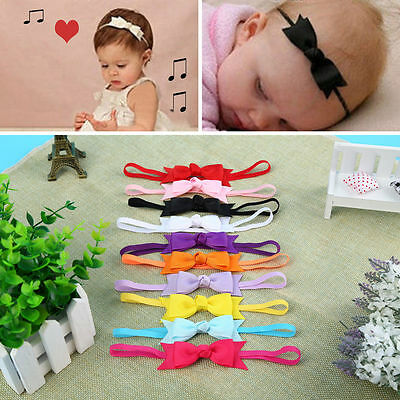 10pcs Color Baby Girl Infant Toddler Headband Bow Ribbon HairBand Accessory ON