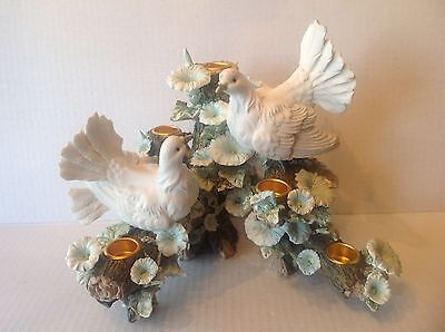 Centrepiece Doves on flowering Branches Candleholder Capodimonte Style label