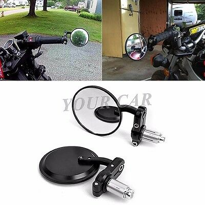 "Black Universal Motorcycle 3"" Round 7/8"" 22mm Handle Bar End Convex Side Mirrors"