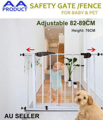 75-96CM Adjustable Baby Pet Child Safety Security Gate Stair Barrier White+Brown