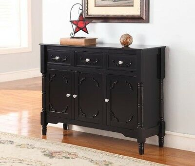 King's Brand R1121 Wood Console Sideboard Table with Drawers and Storage, Black