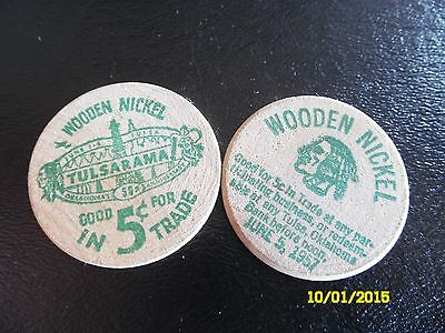 Vintage Pair of Tulsarama 1957 50th Anniversary Commemorative Wooden Nickel