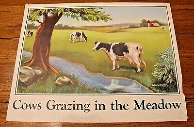 1945 National Dairy Council Illustrated by Edwin Morgan Cows Grazing in Meadow