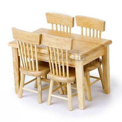 5Pcs 1/12 Dollhouse Miniature Dining Table Chair Wooden Furniture Set Wood Color