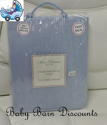 Sweet Dreams - Cradle Fitted Sheets - 2 pk - Blue - 95 x 46 x 8cm