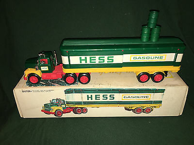 1975 Hess Barrel Truck, with barrels, lights work, rare ,vintage, collectible !!