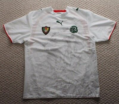 Puma Cameroon Soccer Jersey Mens Large - White Lion Pattern